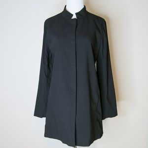 Eileen Fisher Stand Collar Long Jacket in Black S